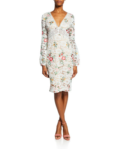 Floral-Print Long-Sleeve Boho Lace Cocktail Dress