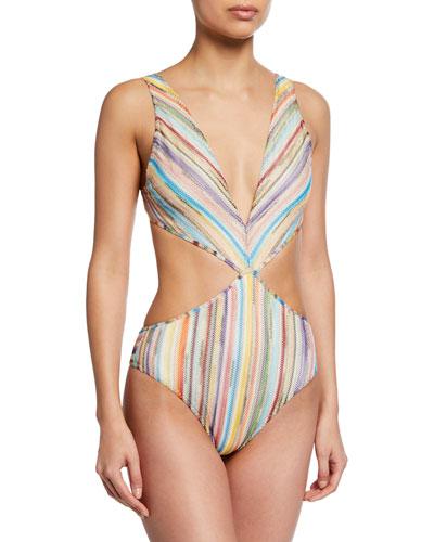 Plunging Knit Cutout One-Piece Swimsuit 80de4d0b047