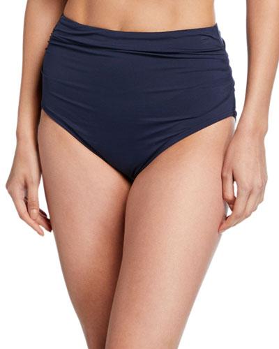 Shirred High-Waist Bikini Bottom