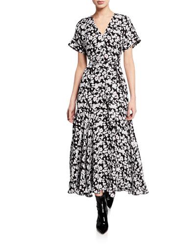 Short-Sleeve Floral Wrap Midi Dress