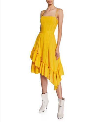 Square-Neck Cami Dress with Asymmetric Ruffle Hem