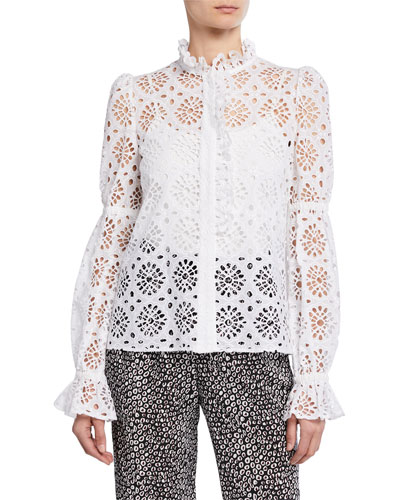 Rosalyn Eyelet Ruffle Button-Front Top