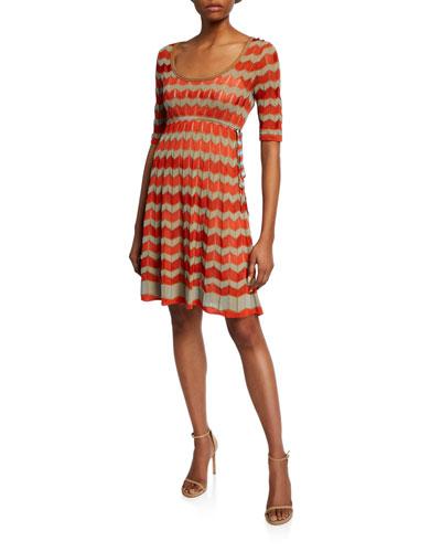 Short-Sleeve Zigzag Stitch Short Dress