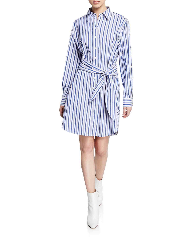 Derek Lam 10 Crosby Dresses Striped Long-Sleeve Tie-Waist Shirtdress, BLUE