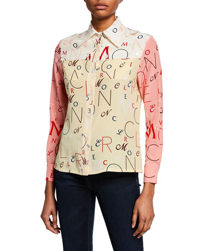 Long-Sleeve Printed Silk Shirt