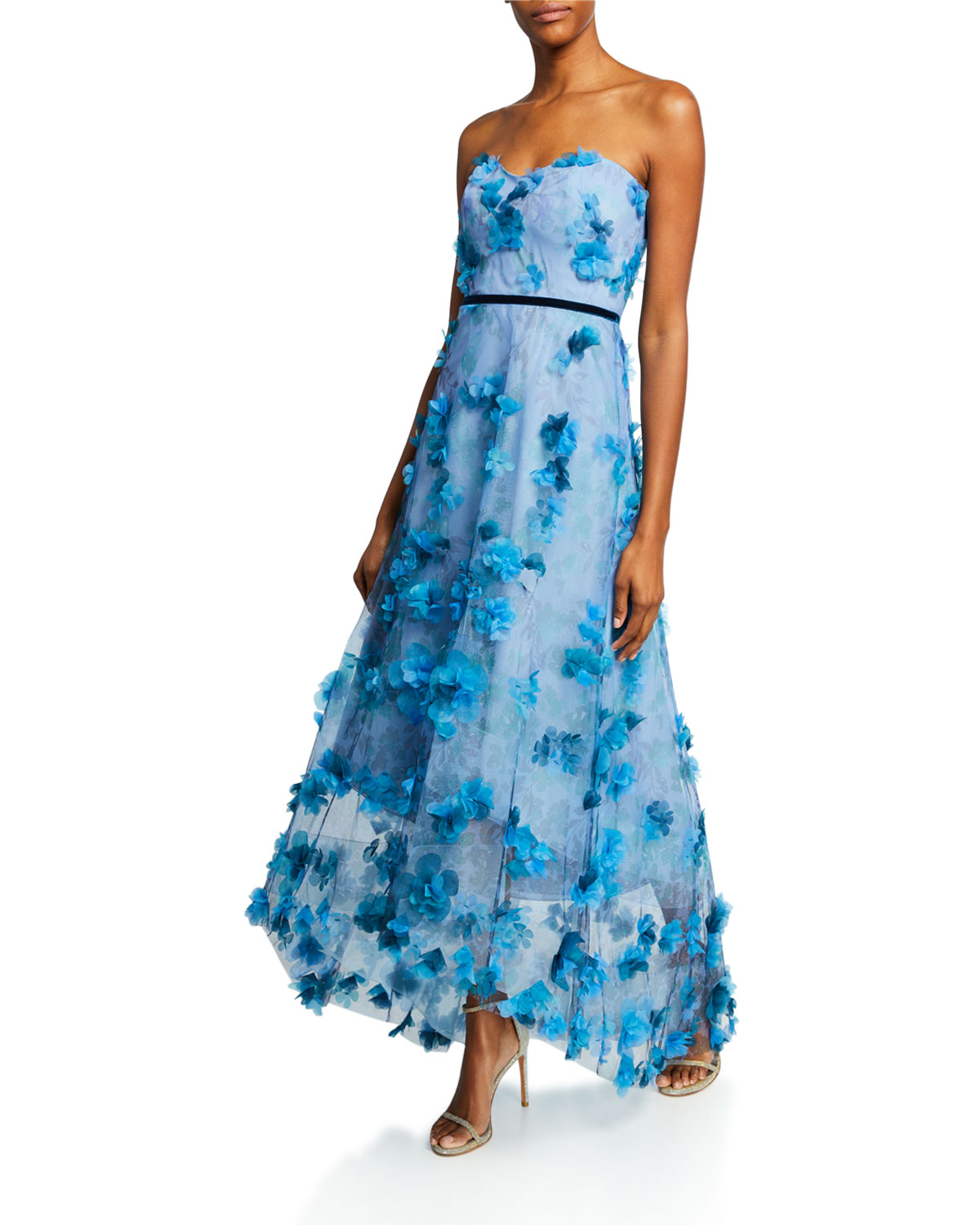 Marchesa Notte Tops PRINTED STRAPLESS HIGH-LOW GOWN WITH 3D FLOWER DEGRADE