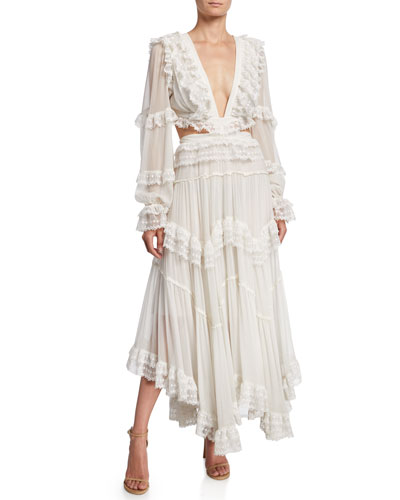 Suraya Cutout Ruffle Long Dress
