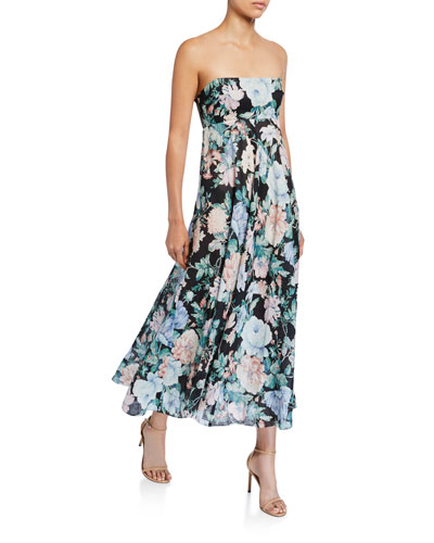 Verity Strapless Floral Long Dress
