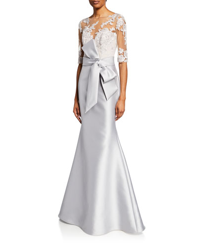 Sweetheart Illusion Half-Sleeve Lace-Bodice Mermaid Gown w  Bow Detail Quick  Look c4382ba3b