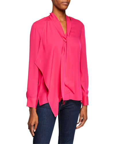 bb3e2d0d05eb28 Marzy Tie-Neck Long-Sleeve Silk Blouse Quick Look