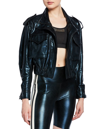 Cropped Metallic Turtle Utility Jacket