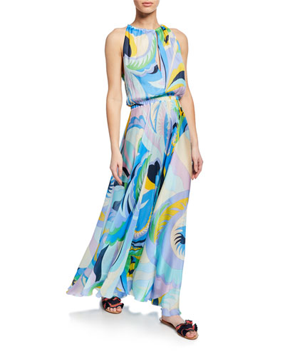 Printed Silk Sleeveless Long Coverup Dress