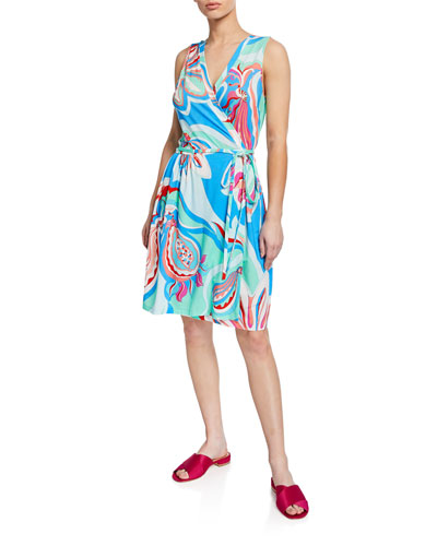 Printed Sleeveless Coverup Wrap Dress