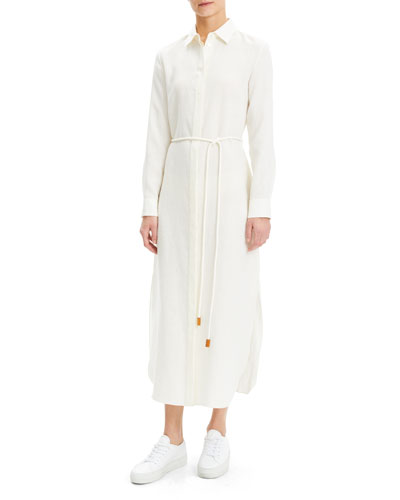 Linen Button-Down Shirtdress with Belt