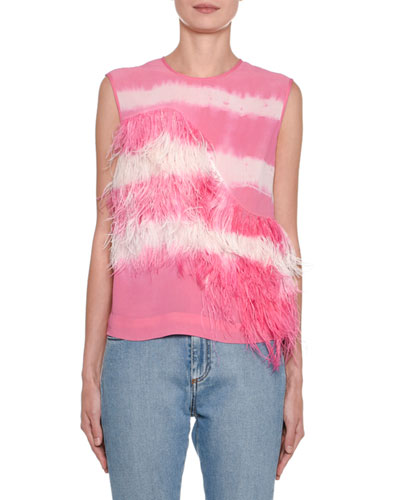 Tie-Dye Sleeveless Striped Top with Feathers