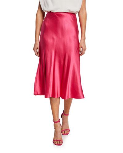 Marta Silk A-Line Midi Skirt
