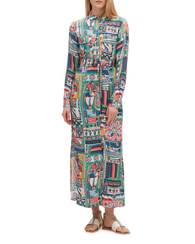 Doha Printed Long-Sleeve Shirtdress