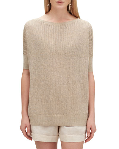 Oversized Boat-Neck Elbow-Sleeve Shimmer Tunic Sweater