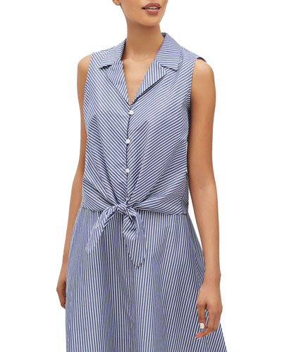 Wynter Striped Button-Front Sleeveless Tie-Hem Blouse
