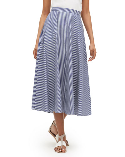 Ambria Striped Midi Cotton Skirt