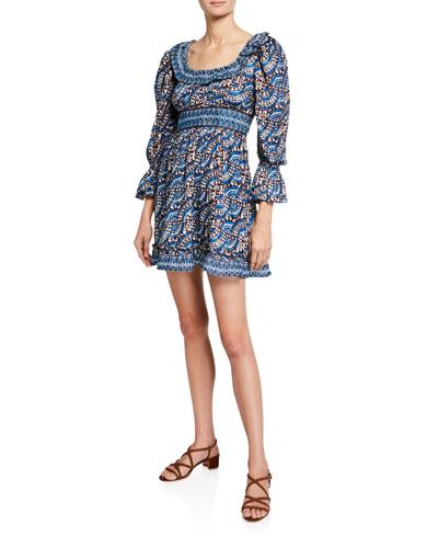Luella Printed Scoop-Neck Blouson-Sleeve Mini Dress