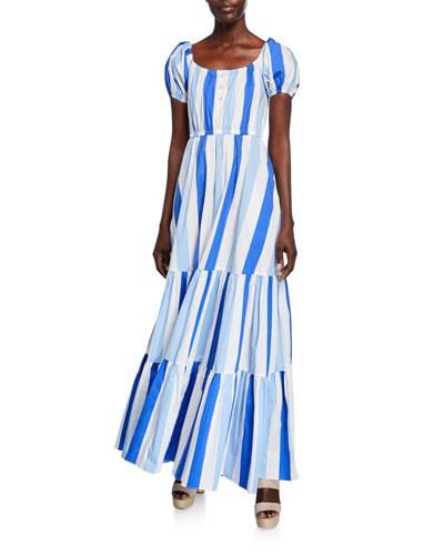 Bardot Printed Scoop-Neck Short-Sleeve Maxi Dress