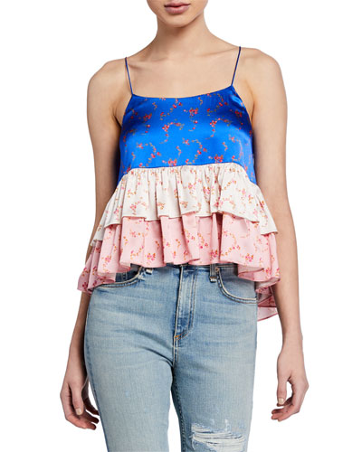 Nadine Colorblock Floral-Print Ruffle Crop Top