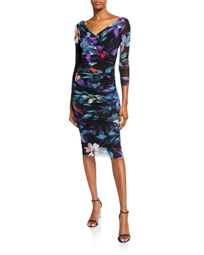 Leaf-Print Ruched Bodycon Dress