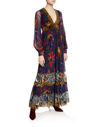 Patchwork Gypsy Mixed-Print Blouson-Sleeve Maxi Dress