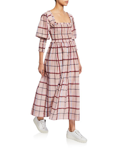 Plaid Square-Neck Bishop-Sleeve Cotton/Silk Midi Dress