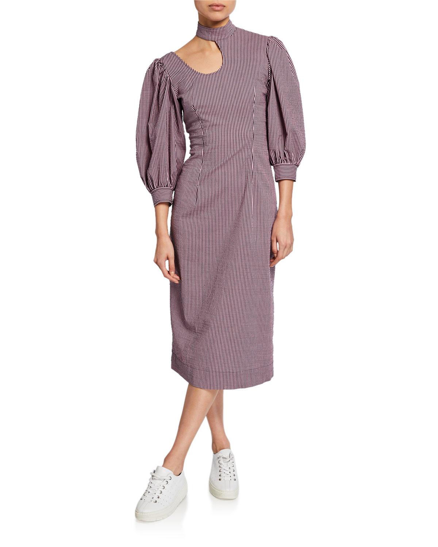 Ganni Dresses HIGH-NECK SEERSUCKER CUTOUT MIDI DRESS