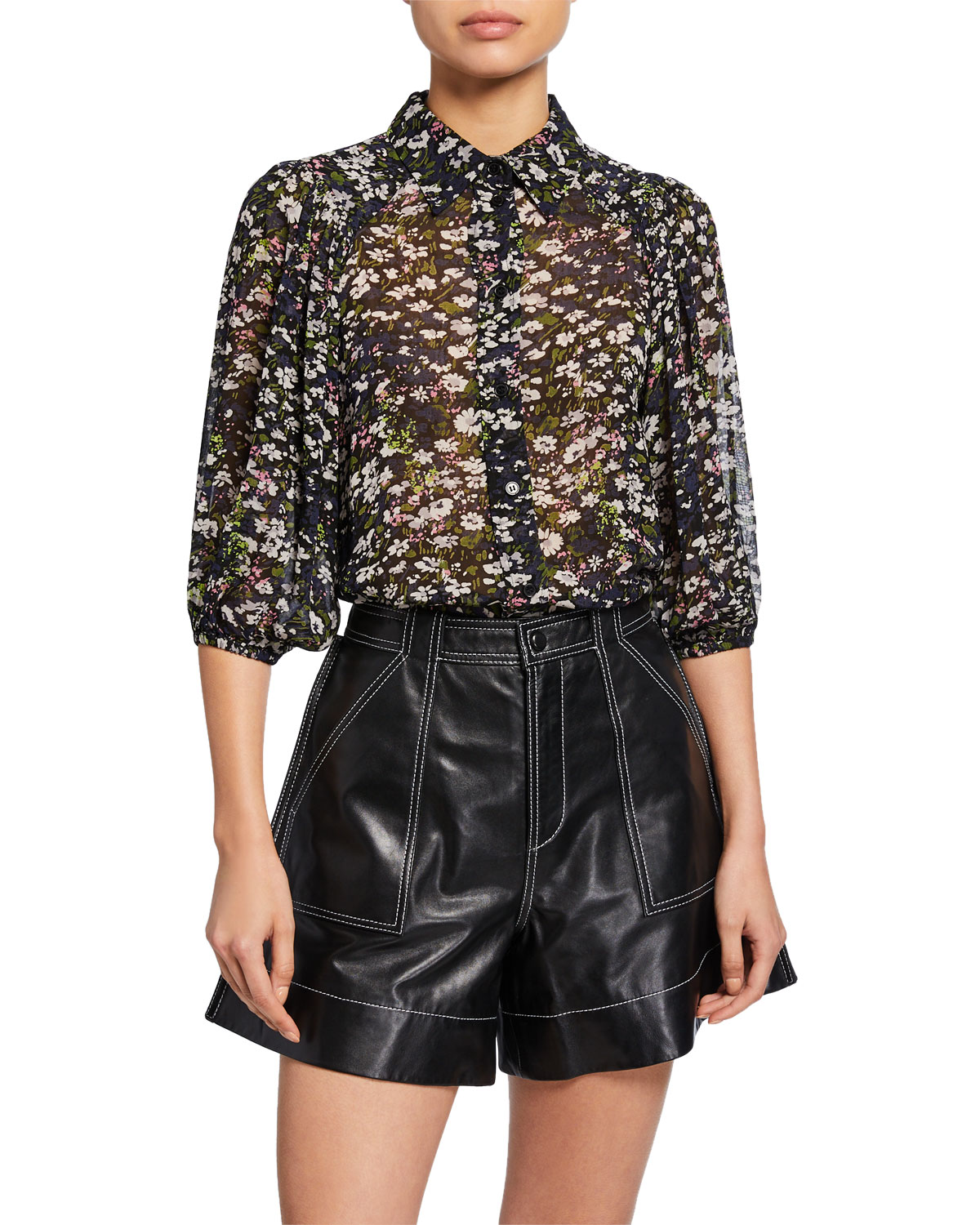 Ganni Tops PRINTED GEORGETTE BUTTON-FRONT TOP