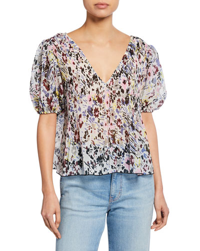 Printed V-Neck Short-Sleeve Pleated Georgette Top