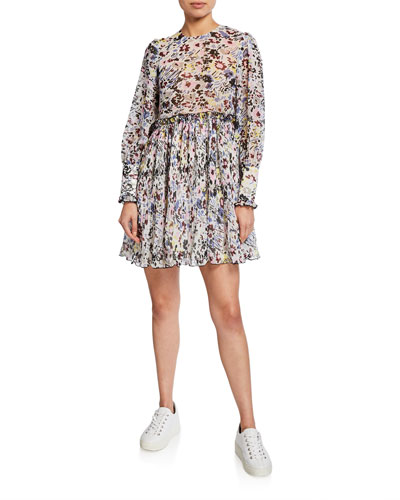 Printed Long-Sleeve Pleated Georgette Mini Dress