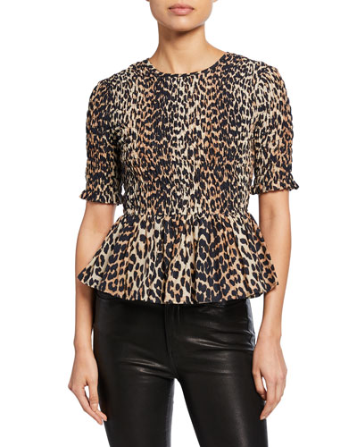 Leopard-Print Smocked Short-Sleeve Peplum Top