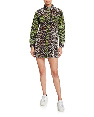 Animal-Print Colorblock Button-Front Mini Denim Shirtdress