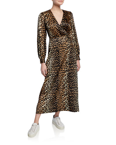 Leopard-Print Surplice Long-Sleeve Stretch-Silk Satin Dress