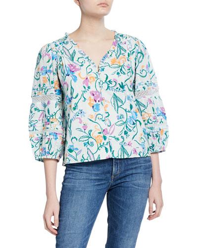 Goa Floral Cotton Button-Down Top