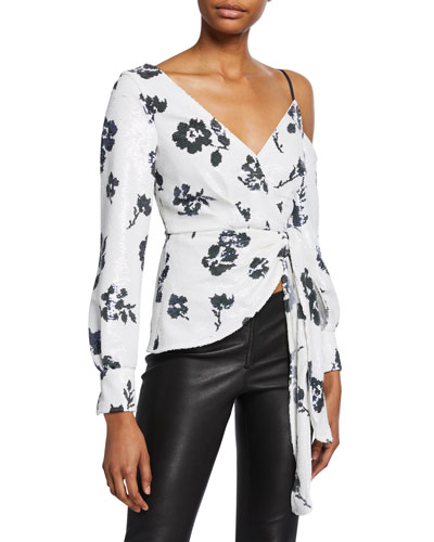 Floral Sequined Cold-Shoulder Wrap Top