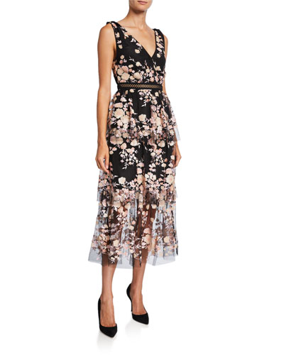 Sleeveless Midnight Floral Mesh Dress