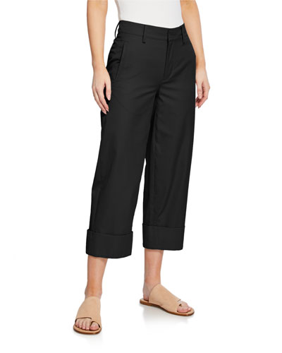 Cuffed Wide-Leg Crop Cotton Pants