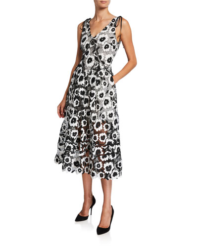 Abstract Floral Guipure Midi Dress