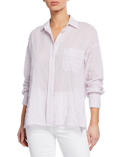 Double Bar Stripe Button-Down Long-Sleeve Boxy Shirt