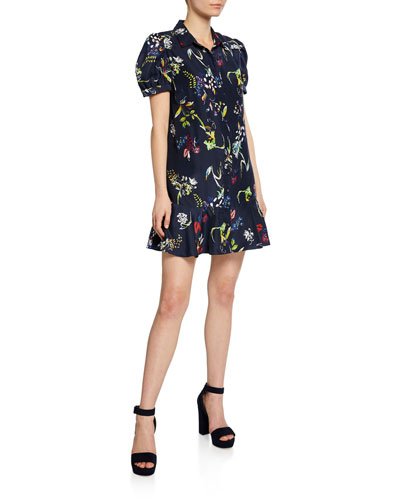 Aliciana Floral-Print Short-Sleeve Mini Flounce Dress