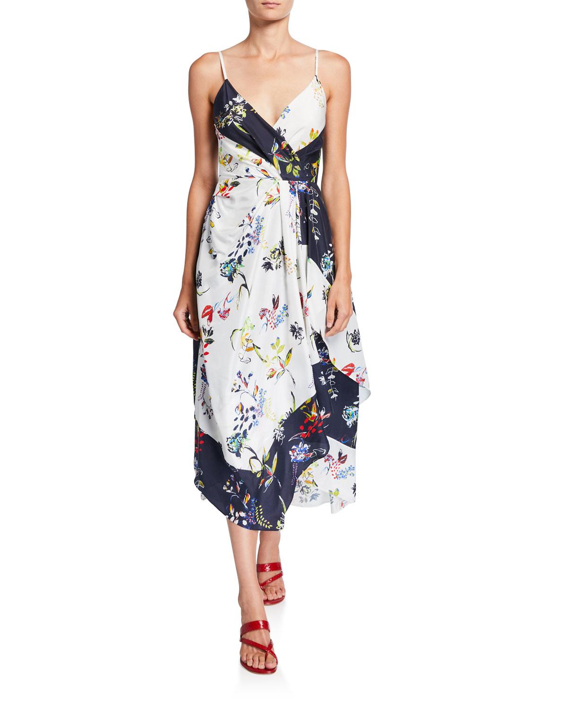 Tanya Taylor Dresses CATIA SLEEVELESS FLORAL SCARF DRESS