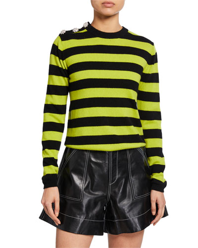 Striped Long-Sleeve Cashmere Sweater w/ Bejeweled Shoulder