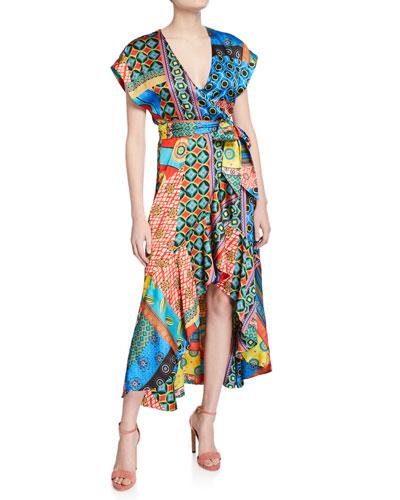 Dani Cap-Sleeve Ruffle Kimono Dress