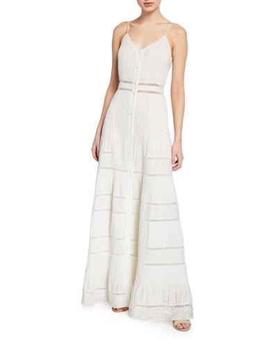 Meg Embroidered Pintuck Button-Down Maxi Dress