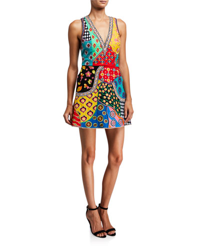 Tennie Embellished Patchwork V-Neck Mini Dress