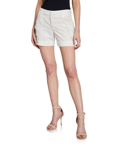 Cady Embroidered Cuffed Cargo Shorts